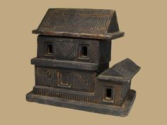 Tharu house box, used to store betel nut components and also to show a prospective wife what sort of house might be built for her. Nepal, Miniatures, Bird, Antiques, Utensils, Outdoor Decor, Southern, House, Brass