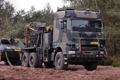 Dutch Army/ DAF XF recovery vehicle, with armored cabin.