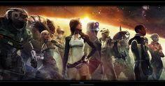The Mass Effect 2 Crew Concept Art, by Benjamin Huen ... see http://benjaminhuen.blogspot.sg/