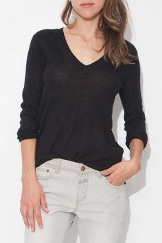 Black Long Sleeve Deep V Sweater