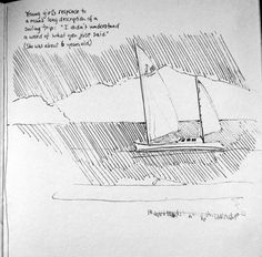 Sailing drawing by Jane Kriss janekriss.com