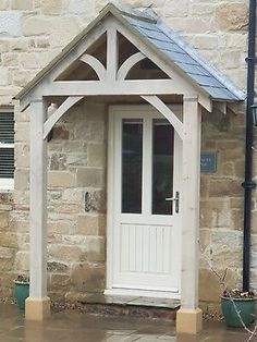 The Grosvenor Redwood Porch. Redwood and is ideal for painting or staining. We only produce 4 porches per week. Front Door Overhang, Timber Front Door, Front Door Awning, Porch Awning, Front Door Entrance, Front Door Steps, Portico Entry, Side Door, Cottage Front Doors
