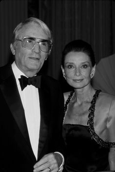 Audrey Hepburn w/ Roman Holiday leading man and good friend Gregory Peck  1988.
