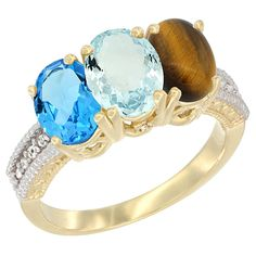 10K Yellow Gold Natural Swiss Blue Topaz, Aquamarine and Tiger Eye Ring 3-Stone Oval 7x5 mm Diamond Accent, sizes 5 - 10 * See this great image  : Jewelry Ring Bands
