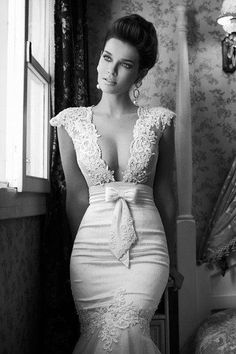 Wedding - Berta Bridal Sexy Deep V-Neck Body Loving and Figure-Hugging Wedding Dress