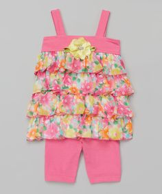 Look at this Youngland Pink Ruffle Tank & Leggings - Infant, Toddler & Girls on #zulily today!