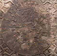 """Dendera zodiac wikipedia: The relief, which John H. Rogers characterised as """"the only complete map that we have of an ancient sky"""",[1] has been conjectured to represent the basis on which later astronomy systems were based.[2] It is now on display at the Musée du Louvre, Paris."""
