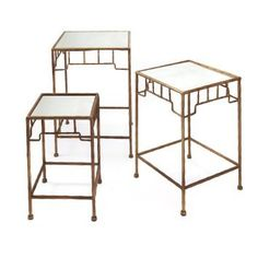Gold Bamboo Mirrored Tables (Set of 3)