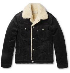 MAISON KITSUNÉ Slim-Fit Faux Shearling-Trimmed Cotton-Corduroy Jacket. #maisonkitsuné #cloth #coats and jackets