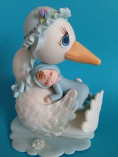 Stork Cake Topper/ Decoration by MICHELLCUSTOMDESIGNS on Etsy, $25.00