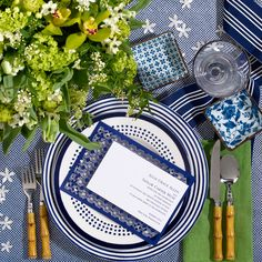 #1: Coastal Classic: Understated and elegant, this crisp blue and white palette gets a modern edge from pops of chartreuse. http://www.theperfectpalette.com/2014/04/help-plan-million-dollar-wedding-vote.html