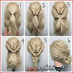 ideas for wedding hairstyles diy updo simple Braided Hairstyles Tutorials, Trendy Hairstyles, Bun Hairstyles, Braid Tutorials, Curly Haircuts, Gorgeous Hairstyles, Hairstyles Pictures, American Hairstyles, Up Dos For Medium Hair