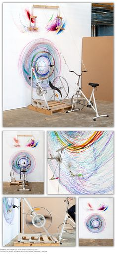 Ok, so, this but with more of a Spirograph effect by allowing the movement of the bike from side to side to create ovals and what-not. Still, well worth considering later for street festivals for kids. Less bicycle smoothie-more cycle art.