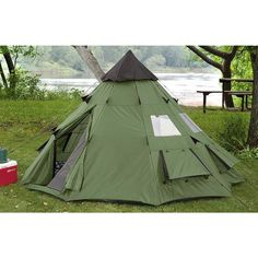 TeePee Style Waterproof 10 x 10 Camping Tent Sleeps 6 New  heavy-duty, lightweight, waterproofed.
