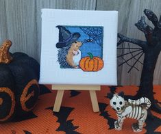 Bewitching Hedgehog- Halloween Decoration - Gift for Hedgehog and Halloween Lovers - stretched on 4x4 in canvas - finished cross stitch by FiftyShadesStitches on Etsy