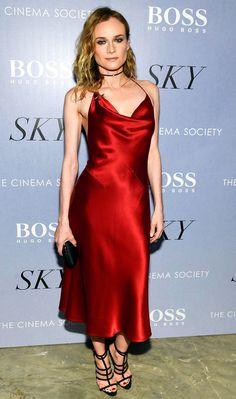 Diane Kruger in a red satin Cushnie et Ochs dress
