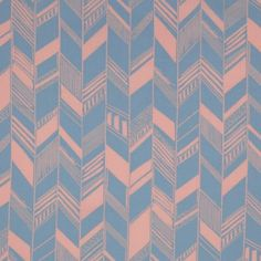 Dusty Coral/Jay Blue Geometric Chevron Cotton Voile Fabric by the Yard | Mood Fabrics