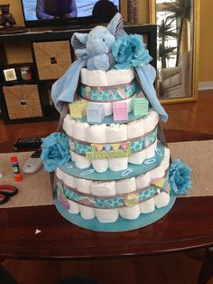 Diaper cake, baby shower, elephant theme, made by me for my sister in law :)