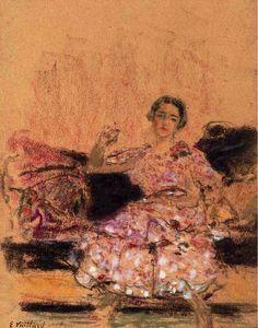 Edouard Vuillard, Woman Seated on a Chaise on ArtStack #edouard-vuillard #art