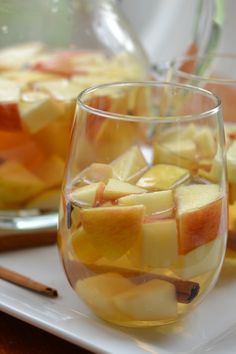 20 Minute Easy Fall Harvest Sangria combines apples, pears, cinnamon and cloves with dry white wine, apple cider and a little bit of brandy.