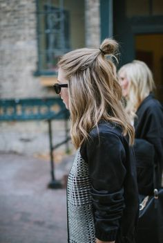 Hump day #hair hack - While you may be tempted to throw your hair up and call it a top knot day, we have an awesome hair hack to try – the half bun.