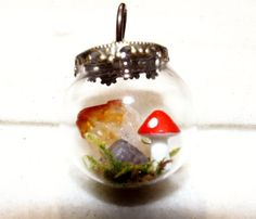 Large Magical Amethyst and Citrine Terrarium with Natural Moss and Mushroom by TheSleepyFirefly