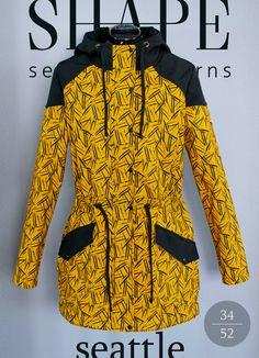 Návod na šití seattle parky - SHAPE-patterns. Shape Patterns, Sewing Patterns, Make Art, Fashion Pants, Parka, Peplum Dress, Dresses For Work, Womens Fashion, Seattle