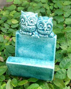 owl business card holder recipe holder office decor sea by muddyme, $18.00