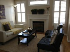 Living room staged by On Stage in Brooklin Ontario