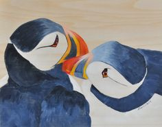 Puffin Love Handpainted 8x10 acrylic wash on wood on Etsy Cute puffins!