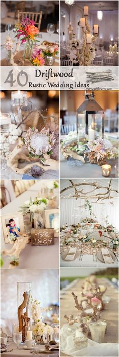 We're always looking for creative and inexpensive DIY wedding ideas and that's exactly why we love driftwood wedding decor. Branches and other wood found along a shoreline of beaches and rivers are fr (Diy Wedding Decorations) Beach Wedding Reception, Beach Wedding Decorations, Wedding Table Centerpieces, Flower Centerpieces, Reception Decorations, Chic Wedding, Wedding Rustic, Centerpiece Ideas, Decor Wedding