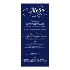Simple Navy Blue And White Wedding Menu Templates.