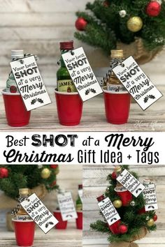SHOT at a Merry Christmas - Fun Alcohol Gift Idea Best SHOT at a Merry Christmas – Fun Alcohol Gift Idea! Includes these printable tags!Best SHOT at a Merry Christmas – Fun Alcohol Gift Idea! Includes these printable tags! Christmas Crafts For Adults, Christmas Gifts For Coworkers, Christmas Gift Baskets, Christmas Crafts For Gifts, Homemade Christmas, Merry Christmas, Christmas Ideas, Christmas Presents, Christmas Neighbor