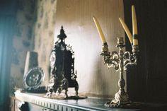 My kind of Halloween Decor!   Abandoned places. #Halloween #candelabra