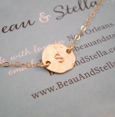 Tiny Hammered Initial Necklace by Beau & Stella ❤️