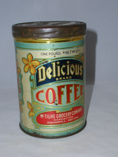 RARE DELICIOUS 1 LB. COFFEE TIN CAN VINTAGE ADVERTISING COLLECTORS 1001-G | eBay