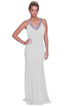 Sexy Vneck Hand Beaded Crystal Crisscross Jersey Knit Dress Prom Gown     Check out this great product. 2b681931ea2a