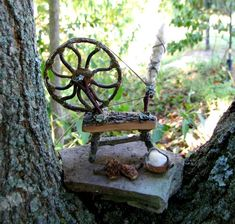 Fairy Spinning Wheel - first one of these I've seen - so creative! (inspiration only) ... but her work is fabulous! ******************************************** PandoraJane via Etsy - #fairy #garden #miniature #spinning #wheel - tå√