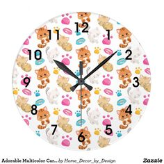 Adorable Multicolor Cartoon Style Cats Paw Prints Large Clock