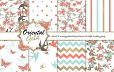 Oriental gold pattern set by Gaynor Carradice Designs on @creativemarket