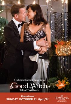 """Cassie (Catherine Bell) and Sam (James Denton) share a moment in """"Good Witch: Tale of Two Hearts,"""" premiering October 21 at on Hallmark Channel. The Good Witch Series, Witch Tv Series, Witch Film, Cathrine Bell, Hallmark Good Witch, James Denton, Netflix, Marilyn Monroe, Tv Show Casting"""