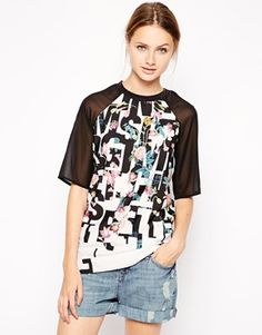 Influence Top In Alphabet Floral Print With Contrast Sleeves