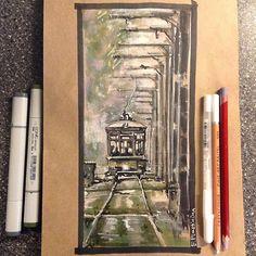Утренний туман #markers #sketch #art_markers #sketching #sketch_zone #copicart #tonedpaper #archsketch #трамвай #осень #туман #markersketch #handrendering