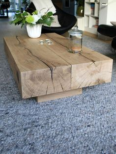 natural cut wood coffee table