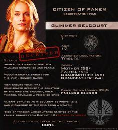 Citizen of Panem Registration File : Glimmer Belcourt Hunger Games Characters, Hunger Games Memes, Hunger Games Fandom, Hunger Games Catching Fire, Hunger Games Trilogy, Glimmer Hunger Games, Leven Rambin, Tribute Von Panem, I Volunteer As Tribute