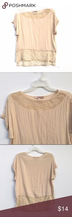 Cream Cuffed Sleeve Lace Top Cream top with lace insets on both the top near the neckline and the bottom. Split a few inches on each side. Cuffed sleeved. Small fault shown in fourth image. Tops Blouses