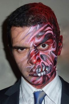 Two Face Haloween face paint by ~Bodypaintingbycatdot on deviantART