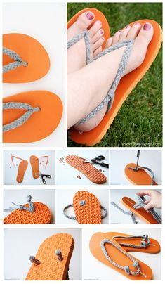 Reciclar zapatos siempre me gusta … joybobo: diy: flip-flop refashion. I always like to recycle shoes Flip Flops Diy, Flip Flop Craft, Crochet On Flip Flops, Decorate Flip Flops, Crochet Shoes, Crochet Slippers, Sewing Slippers, Crochet Sandals, Diy Tresses