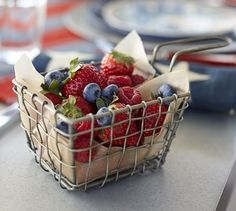 A fry basket full of berries... sounds like a treat to us!