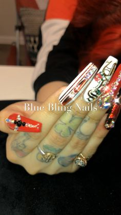 Whether you are looking for simple manicure or long acrylic nails, high-quality Rhinestones ,. Bling Nails, Swag Nails, Rose Nail Art, Finger Nail Art, Swarovski Nails, Long Acrylic Nails, Hot Nails, Nail Decals, Nail Inspo